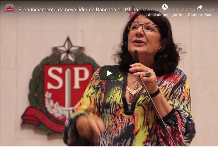 ASSISTA O PRONUNCIAMENTO DE BETH SAHÃO COMO NOVA LÍDER DA BANCADA DO PT NA ALESP