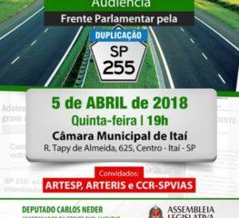 Acontece em 5/4 – Audiência da Frente Parlamentar pela duplicação da SP-255 em Itaí